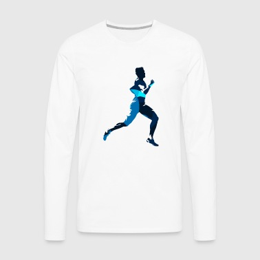 Silhouettes run man sport vector cartoon fun image - Men's Premium Long Sleeve T-Shirt