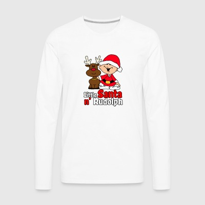 Little Santa N Rudolph funny tshirt - Men's Premium Long Sleeve T-Shirt