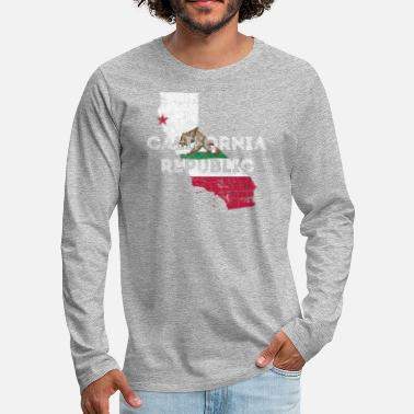 California Republic Flag California Map Shape and Flag - Men's Premium Longsleeve Shirt
