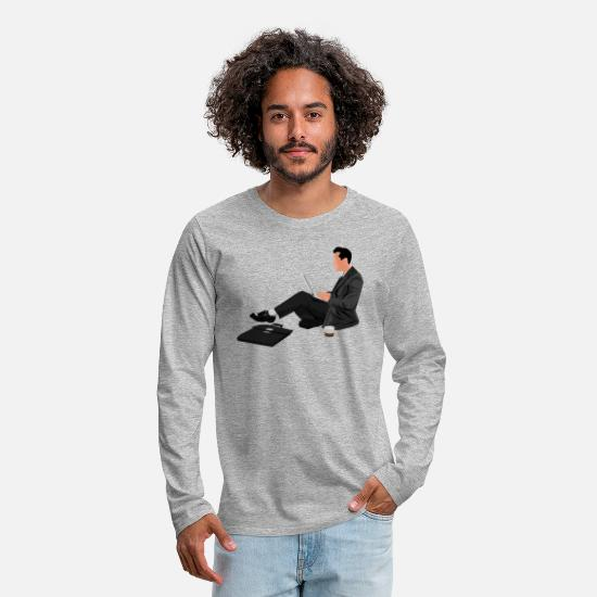 Wife Long-Sleeve Shirts - Man Sitting With Laptop - Men's Premium Longsleeve Shirt heather gray