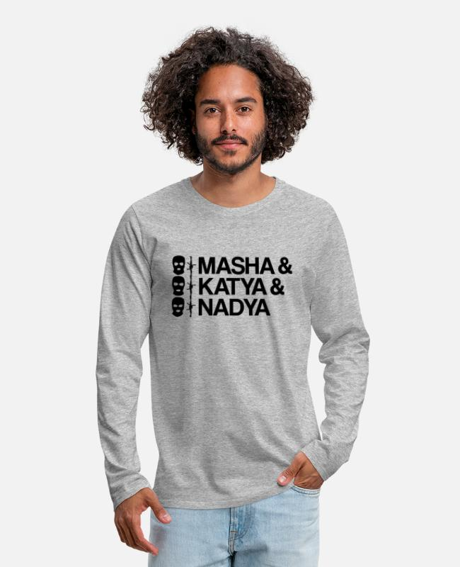 Violation Long-Sleeved Shirts - Pussy Riot Masha & Katya & Nadya - Men's Premium Longsleeve Shirt heather gray
