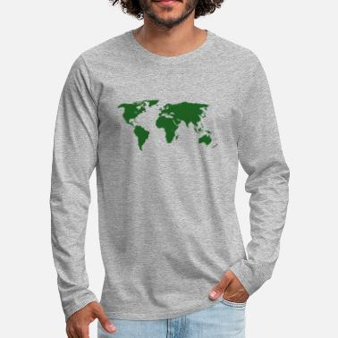 World map green - Men's Premium Long Sleeve T-Shirt