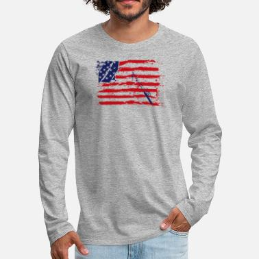 Fisherman American Flag Fishing - Men's Premium Longsleeve Shirt
