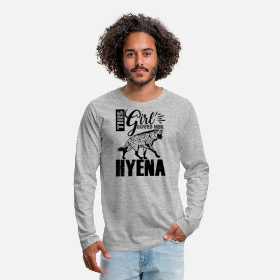 Hyena Shirt Long-Sleeve Shirts - This Girl Loves Hyena Shirt - Men's Premium Longsleeve Shirt heather gray