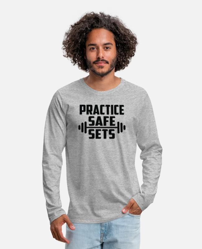 Movie. Music. Humour Long-Sleeved Shirts - Practice Safe Sets - Men's Premium Longsleeve Shirt heather gray