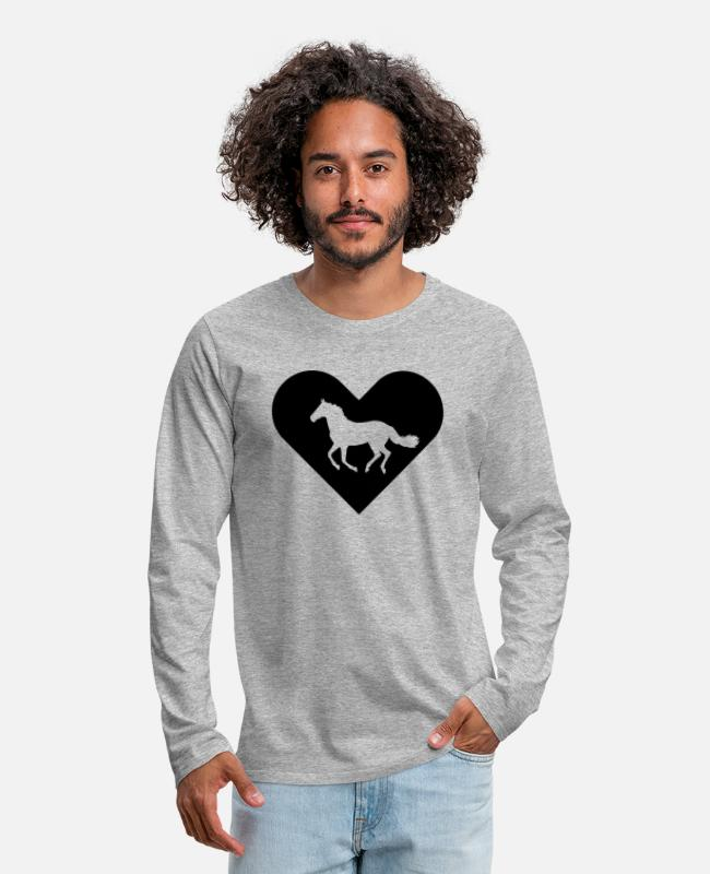 Heart Long-Sleeved Shirts - Heart-Horse (black) - Men's Premium Longsleeve Shirt heather gray