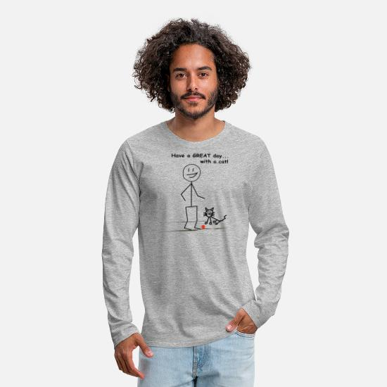 Great Day Long-Sleeve Shirts - Have a GREAT day...with a cat! - Men's Premium Longsleeve Shirt heather gray