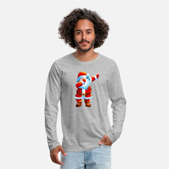 Kids Long-Sleeve Shirts - Dabbing Santa Shirt Christmas Boys Kids - Men's Premium Longsleeve Shirt heather gray