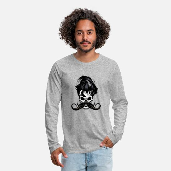 Skull Long-Sleeve Shirts - skull hipster mustachio mustache 6 - Men's Premium Longsleeve Shirt heather gray
