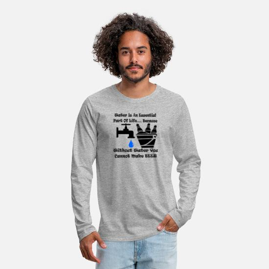 Viking Long-Sleeve Shirts - Water Is Essential Without It You Cannot Make Beer - Men's Premium Longsleeve Shirt heather gray