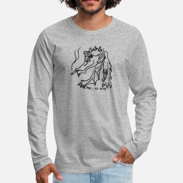 Weed dragon drawing art 420 present idea - Men's Premium Long Sleeve T-Shirt
