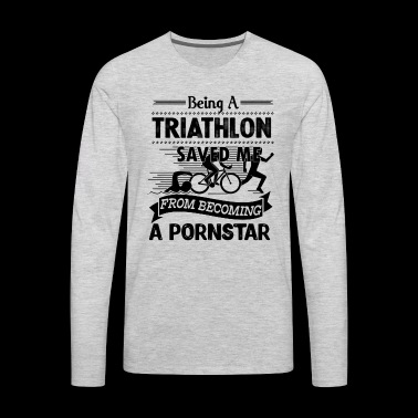 Triathlon Shirt - Being A Triathlon T shirt - Men's Premium Long Sleeve T-Shirt