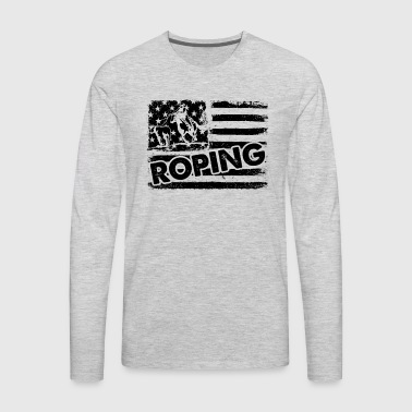 Roping Flag Shirt - Men's Premium Long Sleeve T-Shirt