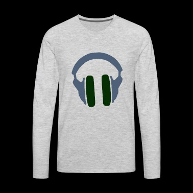 Music Headphones Song Present Gift Green - Men's Premium Long Sleeve T-Shirt