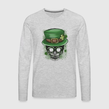 St Patricks Day Irish Skull Graphic Top Hat - Men's Premium Long Sleeve T-Shirt