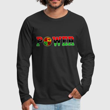 Afrikan Power with Logo and White trim - Men's Premium Long Sleeve T-Shirt