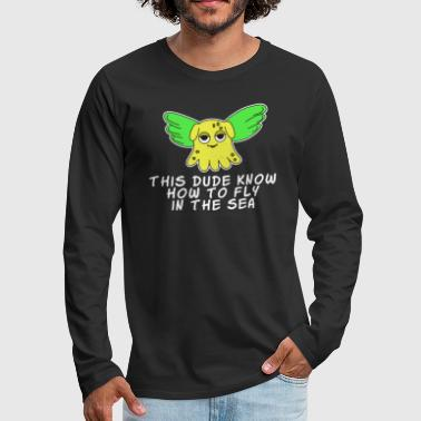 The Small But Adorable Dumbo Octopus Tshirt Design Flying Dumbo Octopus - Men's Premium Long Sleeve T-Shirt