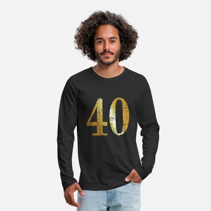 Forty Long sleeve shirts - Number 40 - 40th Birthday Design (Ancient Gold) - Men's Premium Longsleeve Shirt black