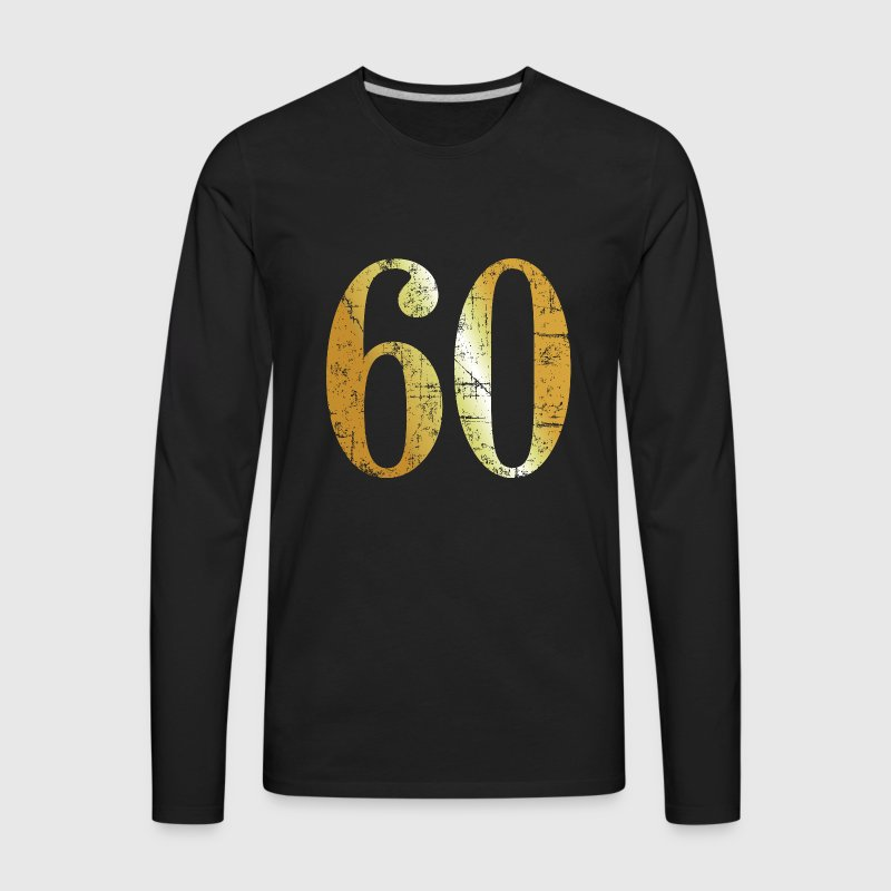 Number 60 - 60th Birthday Design (Ancient Gold) - Men's Premium Long Sleeve T-Shirt