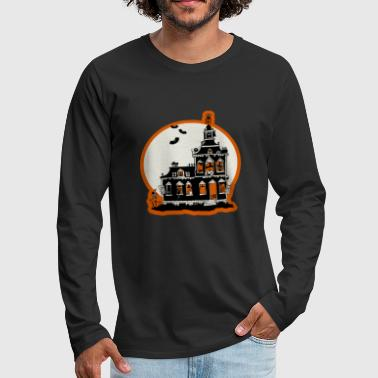 Vintage Style Haunted House Happy Halloween - Men's Premium Long Sleeve T-Shirt