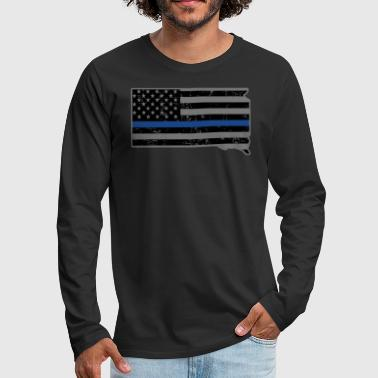 South Dakota Police & Law Enforcement Thin Blue Line - Men's Premium Long Sleeve T-Shirt