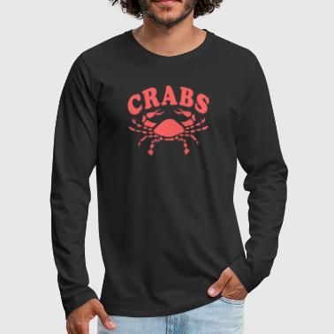 Funny Crabs Vintage Look Team Mascot Red - Men's Premium Long Sleeve T-Shirt