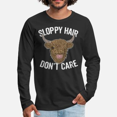 Highland Highland Cattle Cow Fun Saying Hair Style Gag Gift - Men's Premium Long Sleeve T-Shirt