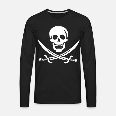 Pirate Skull And Crossbones White On Transparent Mens T Shirt