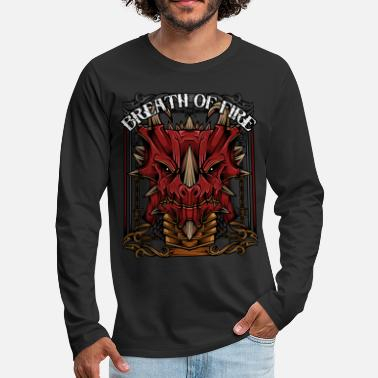 Mythical Creature Breath Of Fire Cool Mythical Dragon Head Legendary - Men's Premium Longsleeve Shirt