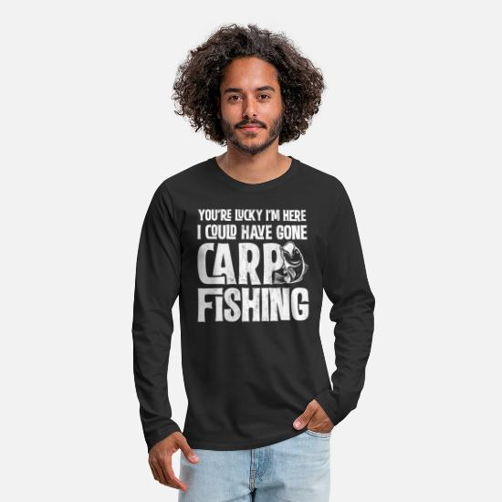 Fishing Long-Sleeve Shirts - Carp Fishing Funny Lucky I'm Here T Shirt Gift - Men's Premium Longsleeve Shirt black