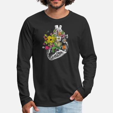 Wife Retro Floral Anatomical Human Heart T shirt for - Men's Premium Long Sleeve T-Shirt