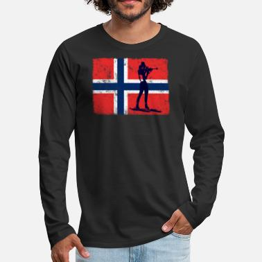 Biathlon Biathlon Biathlete Shooting Norway Flag Winter - Men's Premium Longsleeve Shirt