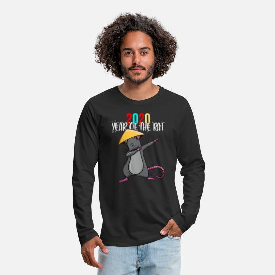 Year Long-Sleeve Shirts - 2020 Year Of The Rat Dabbing Rat Happy Chinese - Men's Premium Longsleeve Shirt black