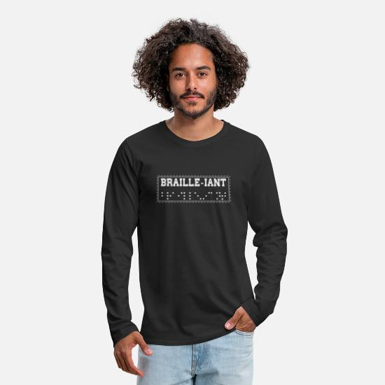 Braille Long-Sleeve Shirts - Braille-iant-Word play Brilliant Braille Alphabet - Men's Premium Longsleeve Shirt black
