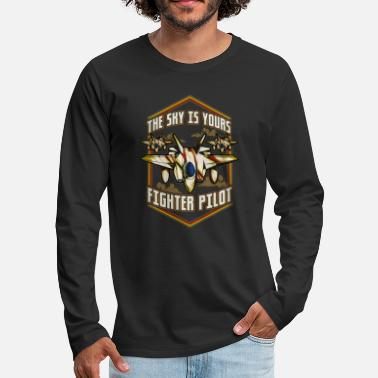 Pilot License The Sky Is Yours Fighter Pilot - Men's Premium Longsleeve Shirt
