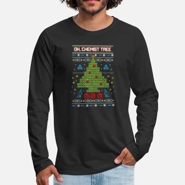Oh Oh, Chemist Tree Funny Ugly Christmas Sweater - Men's Premium Long Sleeve T-Shirt