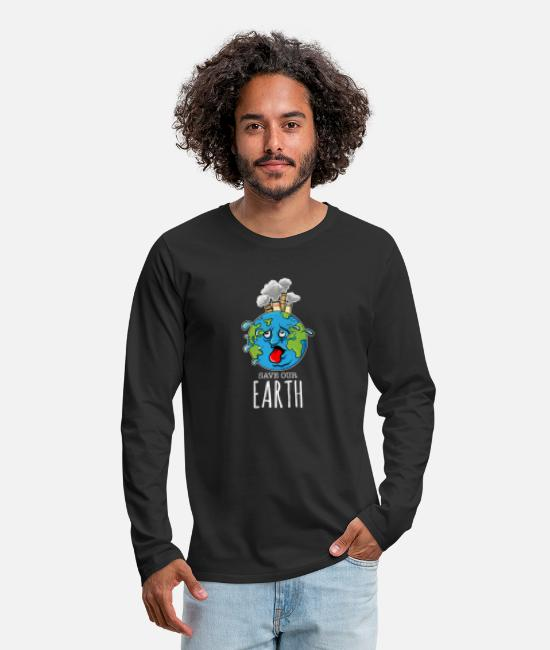 Earth Long-Sleeved Shirts - Save our Earth - Men's Premium Longsleeve Shirt black