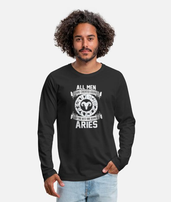 Astrology Long-Sleeved Shirts - Aries Men are created equal - giftidea - Men's Premium Longsleeve Shirt black