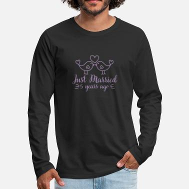 Silver Wedding love bird 5 years gift - Men's Premium Longsleeve Shirt