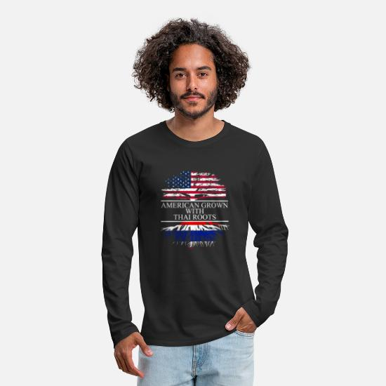 Thai Language Long-Sleeve Shirts - American grown with thai roots - Men's Premium Longsleeve Shirt black