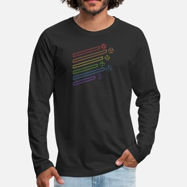 Minimalist Minimalist Polyhedral Dice Set Rainbow Tabletop - Men's Premium Long Sleeve T-Shirt