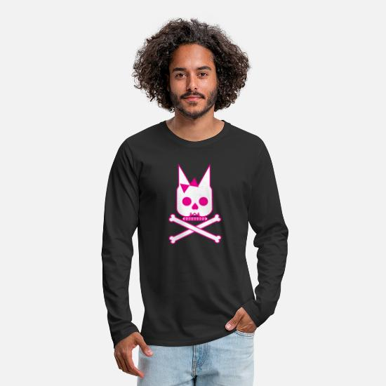 Skull And Bones Long-Sleeve Shirts - Doggie Skull & Cross Bones - Men's Premium Longsleeve Shirt black