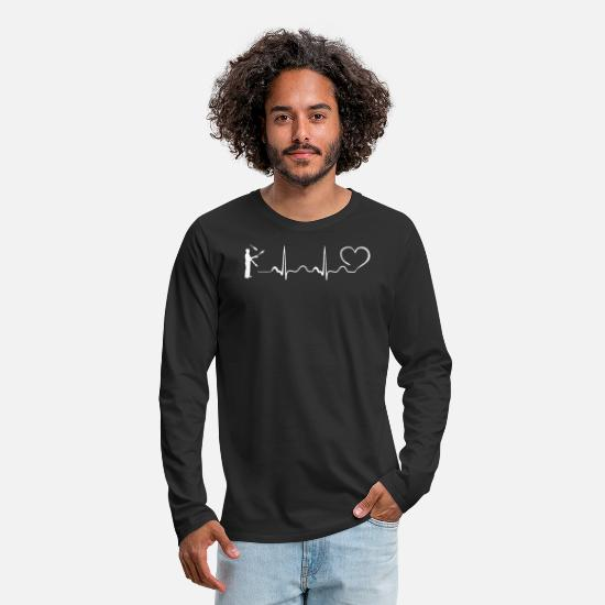 Art Long-Sleeve Shirts - Juggling Heartbeat Ekg CIRCUS DESIGN - Men's Premium Longsleeve Shirt black