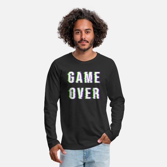 Art Long-Sleeve Shirts - Game Over Glitch Electronic Distorted Gift Idea - Men's Premium Longsleeve Shirt black