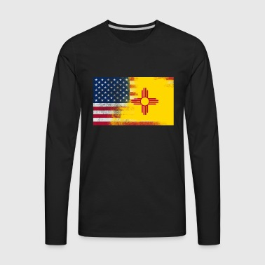 New Mexico American Flag Fusion - Men's Premium Long Sleeve T-Shirt