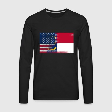 North Carolina American Flag Tee - Men's Premium Long Sleeve T-Shirt