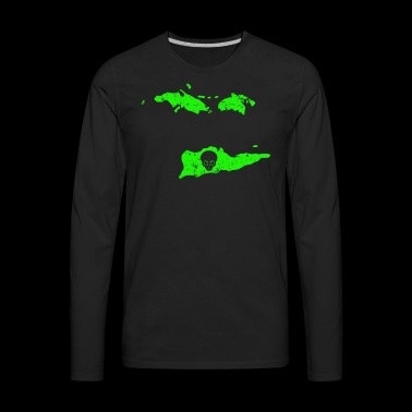 UFO Abduction Cool Aliens Green Alien US Virgin Islands - Men's Premium Long Sleeve T-Shirt