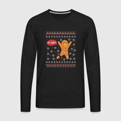 Gingerbreadman oh snap Ugly Xmas Sweater Gift Chri - Men's Premium Long Sleeve T-Shirt