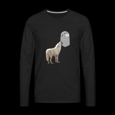 Wolf Howling To Moon In Your Fake Pocket Funny - Men's Premium Long Sleeve T-Shirt