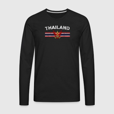 Thai Flag Shirt - Thai Emblem & Thailand Flag Shir - Men's Premium Long Sleeve T-Shirt
